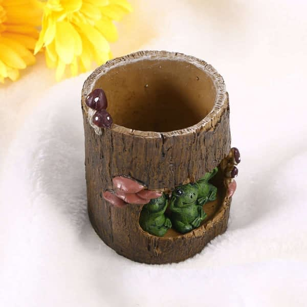 Green Frog Flower Pot